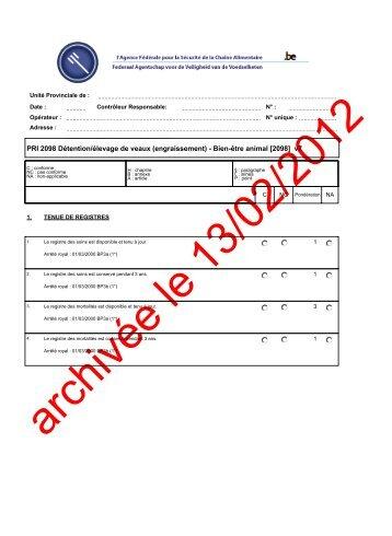 PRI 2098 Détention/élevage de veaux (engraissement) - Bien ... - Favv