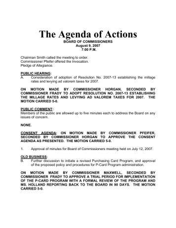 The Agenda of Actions - Fayette County Government