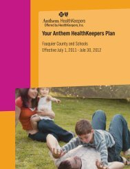 Your Anthem HealthKeepers Plan - Fauquier County