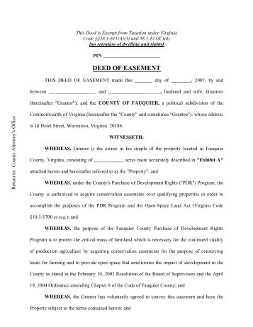 DEED OF EASEMENT - Fauquier County