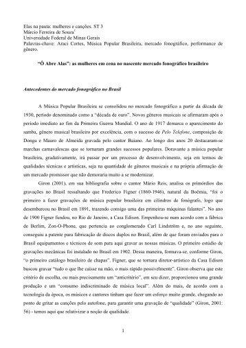 mulheres e canções. ST 3 Márcio Ferreira de ... - Fazendo Gênero