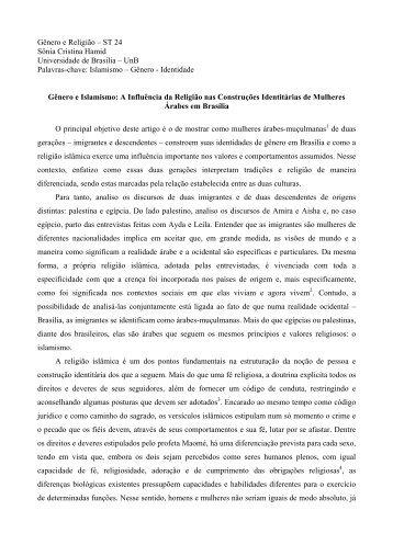 Gênero e Religião – ST 24 Sônia Cristina Hamid ... - Fazendo Gênero