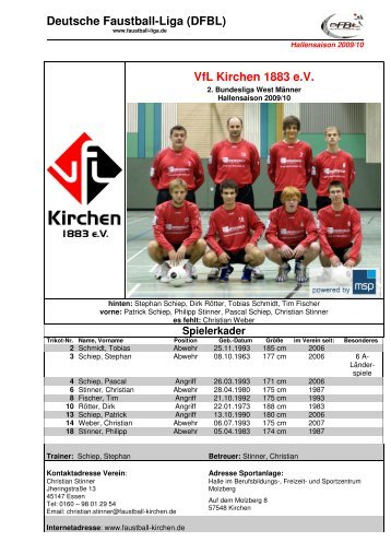 Teamvorstellung - VfL Kirchen