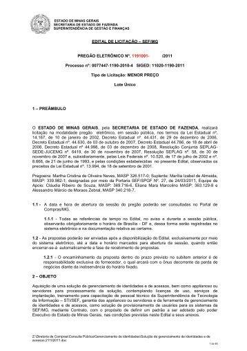 Edital - Secretaria de Estado de Fazenda de Minas Gerais ...