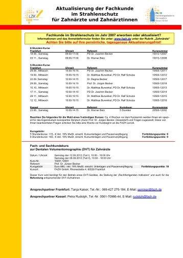Aktualisierung der Fachkunde im Strahlenschutz für Zahnärzte und ...