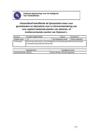 Omzendbrief betreffende de fytosanitaire eisen voor ... - Favv