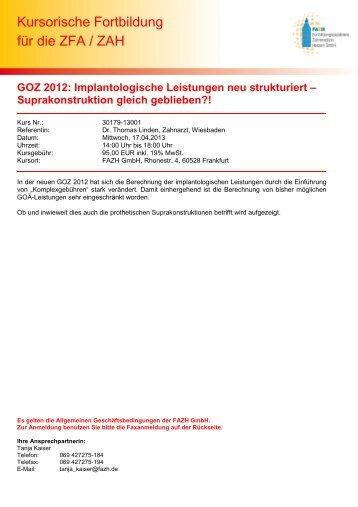 Kursorische Fortbildung für die ZFA / ZAH