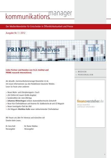 Ausgabe Nr. 1 / 2012 Der MedienNewsletter für ... - FAZ-Institut