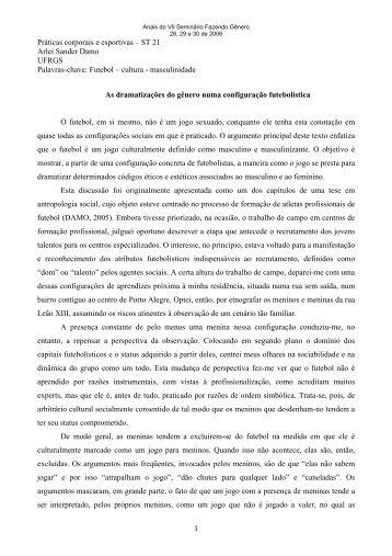 1 Práticas corporais e esportivas – ST 21 Arlei Sander Damo ...