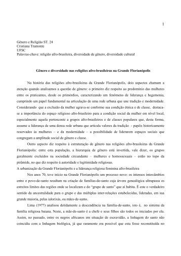Gênero e Religião ST. 24 Cristiana Tramonte UFSC Palavras-chave ...