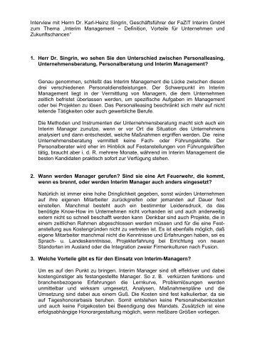Interview mit Herrn Dr. Karl-Heinz Singrin ... - FaZiT interim