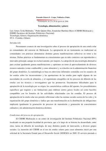 Tecnología, alimentación y género Luis Arturo ... - Fazendo Gênero