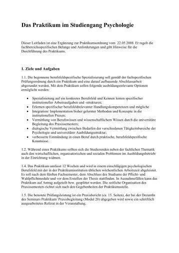 Das Praktikum im Studiengang Psychologie - Fachbereich 11 ...