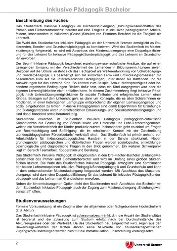 Inklusive Pädagogik Bachelor - Universität Bremen