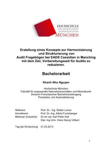 Bachelorarbeit - Fakultät 06 - Hochschule München