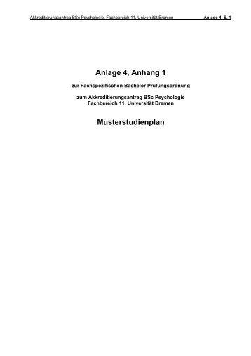 Anlage 4, Anhang 1 Musterstudienplan - Universität Bremen