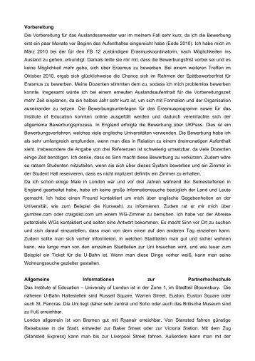 Erfahrungsbericht - Universität Bremen