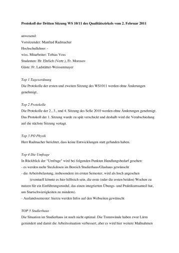 Protokoll QZ 2. Februar 2011