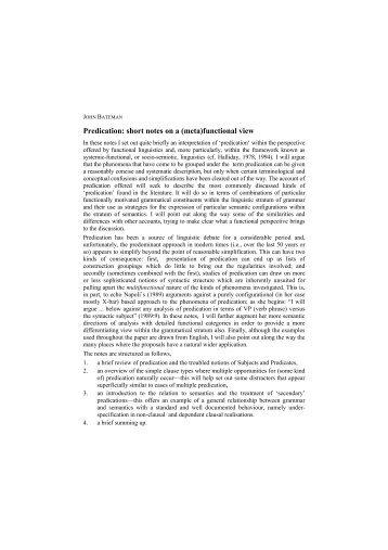 Predication - Fachbereich 10 - Universität Bremen