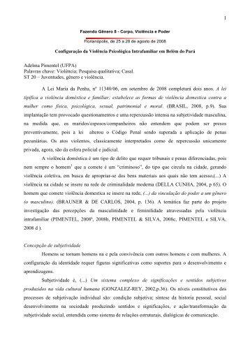 1 Adelma Pimentel (UFPA) Palavras chave ... - Fazendo Gênero
