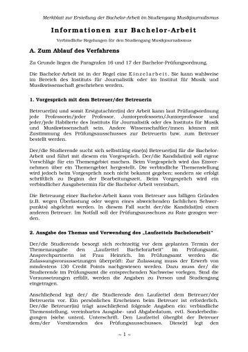 Informationen zur Bachelorarbeit Musikjournalismus - TU Dortmund