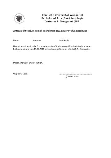 Bergische Universität Wuppertal Bachelor of Arts (B.A.) Soziologie ...