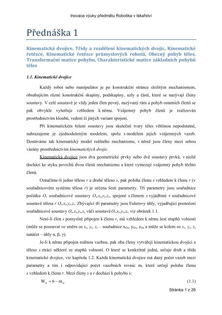 Kinematická dvojice, Třídy a - FBMI