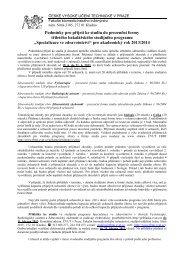 Podmínky pro přijetí ke studiu do prezenční formy tříletého ... - FBMI