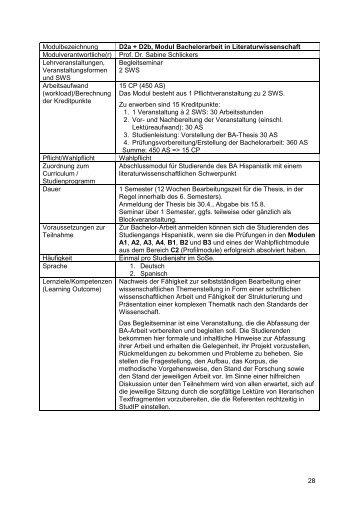 D2, Modul Bachelorarbeit in Literaturwissenschaft