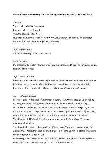 Protokoll QZ 17. November 2010
