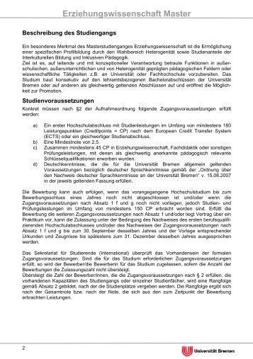 Erziehungswissenschaft Master - Fachbereich 12 - Universität Bremen