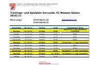 Trainings- und Spielplan Vorrunde: FC Weesen Saison 2010/11
