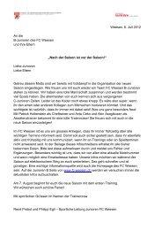 Weesen, 8. Juli 2012 An die B-Junioren des FC Weesen und ihre ...