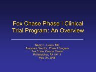 Fox Chase Phase I Clinical trial Program - Fox Chase Cancer Center