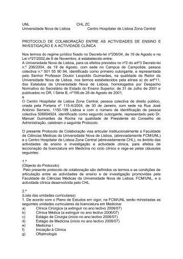 Centro Hospitalar de Lisboa Zona Central - Faculdade de Ciências ...