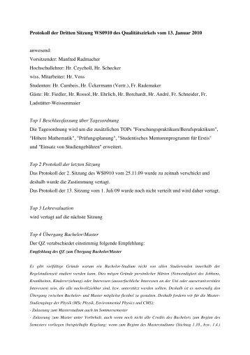 Protokoll QZ Jan 2010 #2