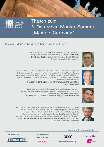 "Thesen zum 3. Deutschen Marken-Summit ""Made in ... - FAZ-Institut"