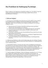 Das Praktikum im Studiengang Psychologie - Universität Bremen