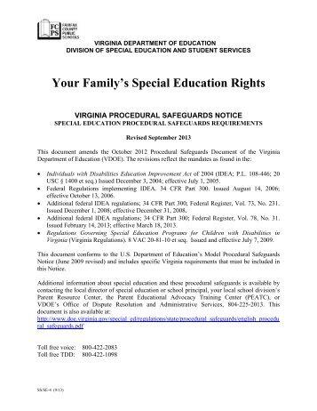 Virginia Procedural Safeguards - Fairfax County Public Schools