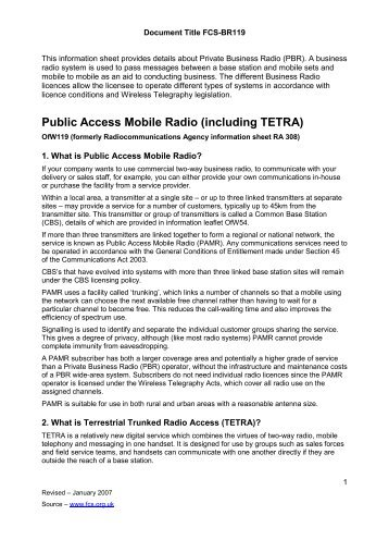 Public Access Mobile Radio - Federation of Communication Services