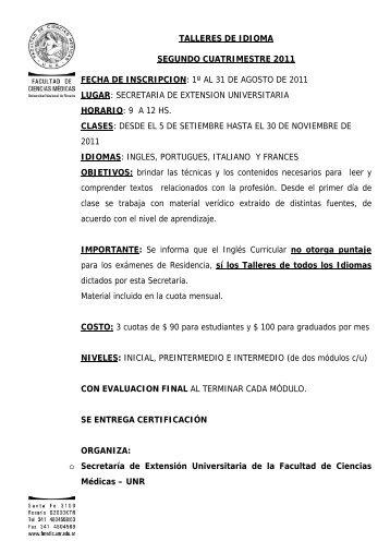 talleres de idioma segundo cuatrimestre 2011 fecha de inscripcion