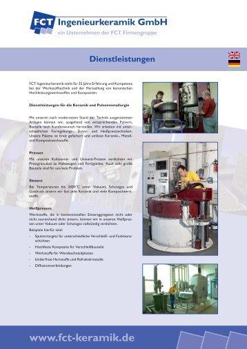 FCT Ingenieurkeramik - Dienstleistungen