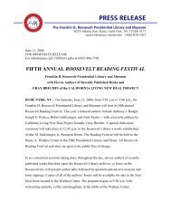 PRESS RELEASE - Franklin D. Roosevelt Presidential Library and ...