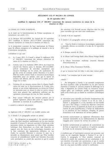 Règlement (UE) no 965/2011 du Conseil du 28 ... - EUR-Lex