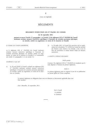 Règlement d'exécution (UE) no 956/2011 du Conseil du ... - EUR-Lex