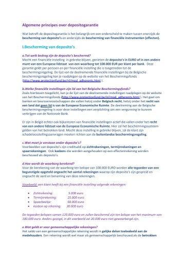 Algemene principes over depositogarantie - Febelfin