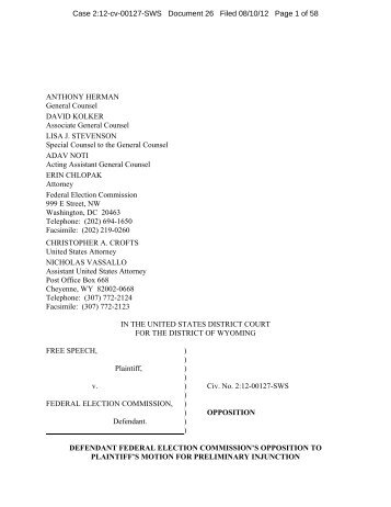 Opposition to Plaintiff's Motion for Preliminary Injunction - Federal ...