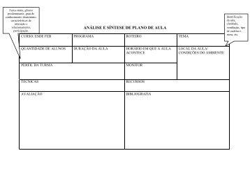 Formulário de Análise e Síntese de Planos de Aula - Ago-2012