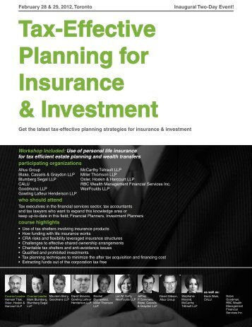 Tax-Effective Planning for Insurance & Investment - Federated Press