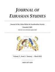 JOURNAL OF EURASIAN STUDIES Journal of the Gábor Bálint de ...